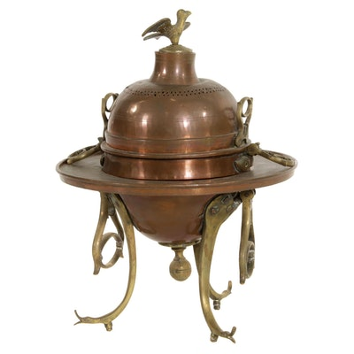 Middle Eastern Copper Brazier with Brass Handles and Finial, 20th Century