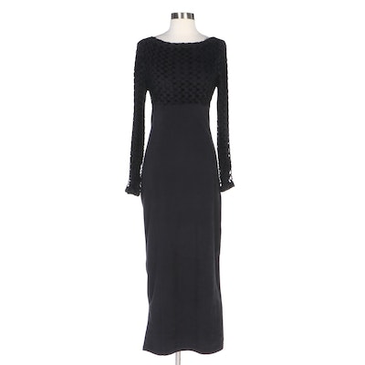 Barbara Bui Paris Bateau Neck Dress in Chenille and Stretch Microfiber, Vintage