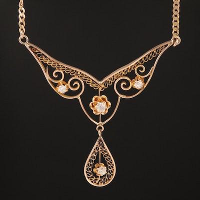 14K Diamond Filigree Stationary Necklace