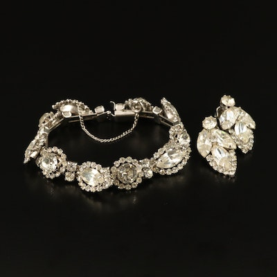 Vintage Weiss Rhinestone Bracelet and Clip Earrings