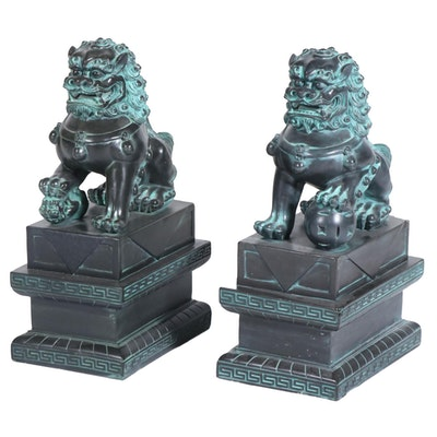 Chinese Carved Patinated Stone Guardian Lion Statues