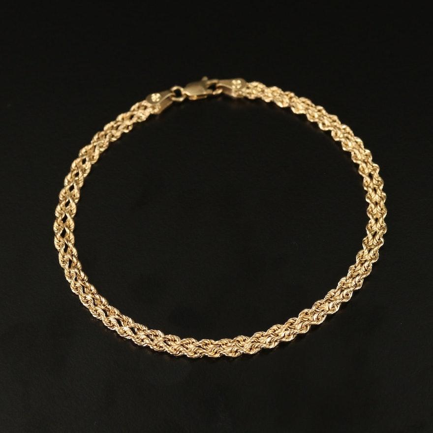 10K Double Rope Chain Bracelet