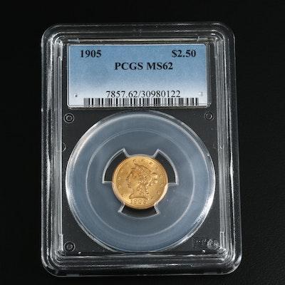 PCGS Graded MS62 1905 Liberty Head $2.50 Gold Quarter Eagle