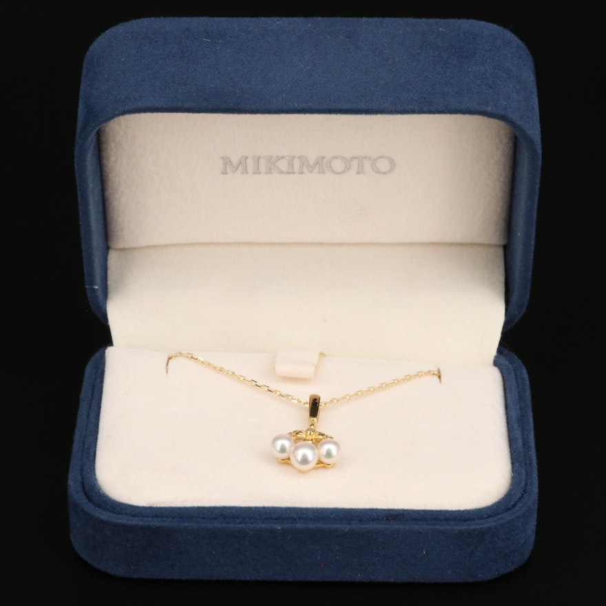 Mikimoto 18K Pearl Floral Necklace