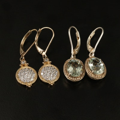 Sterling Silver Prasiolite and Cubic Zirconia Dangle Earrings