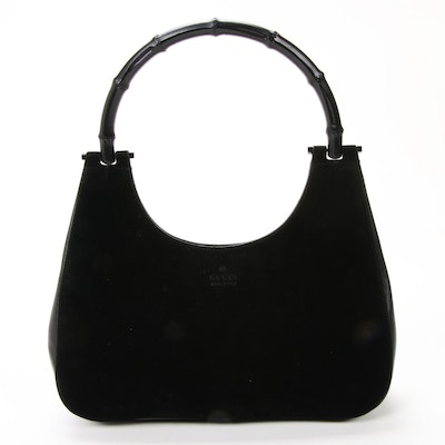 Gucci Bamboo Handle Black Suede and Leather Handbag
