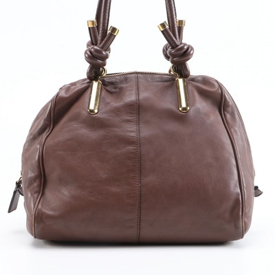 Chloé Janet Brown Calfskin Top Handle Bag