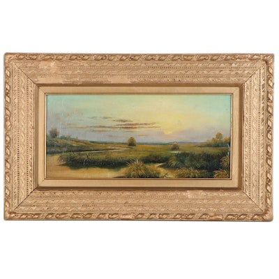 Salt Marsh Landscape Oil Painting, Circle of Martin Johnson Heade