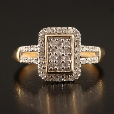 10K Diamond Cluster Split Shank Ring