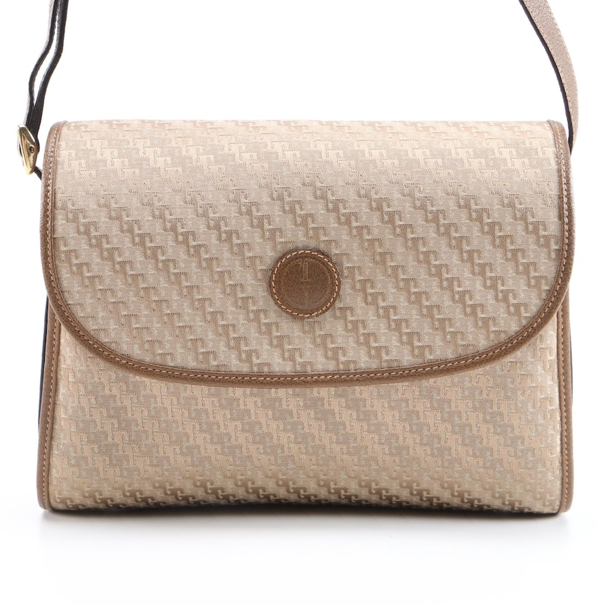 Gucci Beige Canvas and Brown Leather Front Flap Shoulder Bag