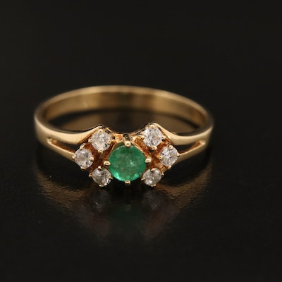 18K Emerald and Cubic Zirconia Ring