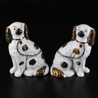 Staffordshire Cooper Luster Dogs, Late 19th Century