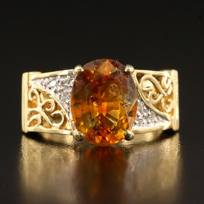 18K 3.42 CT Sapphire and Diamond Ring