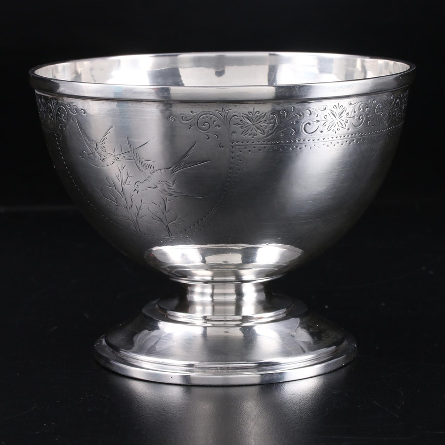 Whiting Chased Sterling Silver Footed Bowl, Late 19th/Early 20th Century