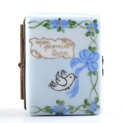 "French Hand-Painted Porcelain ""Mon Premier Livre"" Limited Edition Limoges Box"