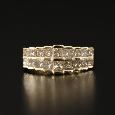 14K 2.24 CTW Diamond Double Row Stepped Band