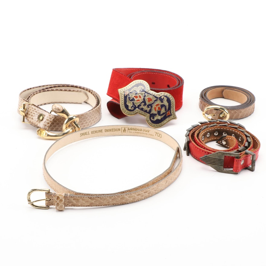 Morris Moskowitz and London Fog Snakeskin Belts, Salena's Collection and More