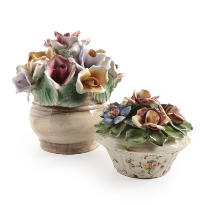Capodimonte Flowers and other Italian Ceramic Lidded Jar, Mid-20th Century