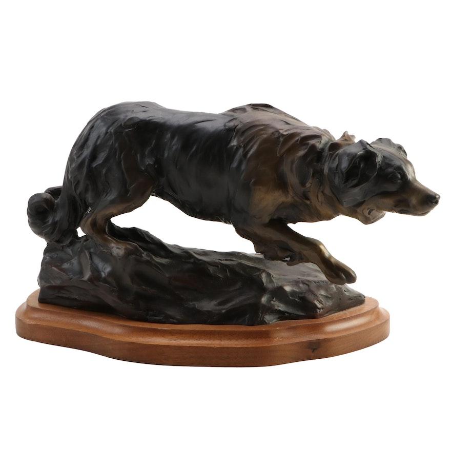 Veryl Goodnight Bronze Sculpture of Border Collie, 1986