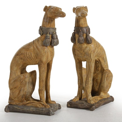 Pair of Composite Greyhound Statuettes