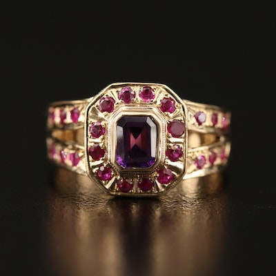 14K Amethyst and Ruby Ring
