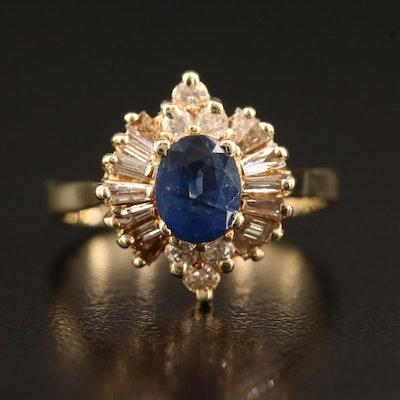 14K Sapphire and Diamond Ballerina Style Ring