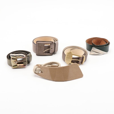 Leather and Bonded Leather Statement Buckle Belts Including Calderon and More