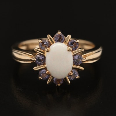 10K Opal and Tanzanite Halo Ring