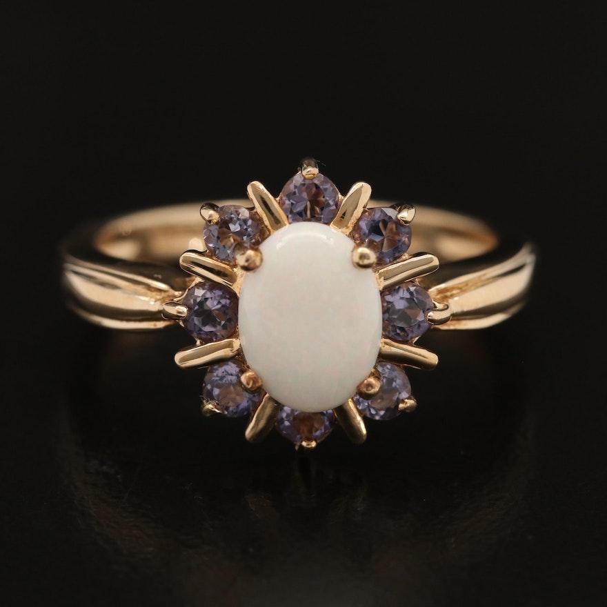 10K Opal and Tanzanite Halo Ring