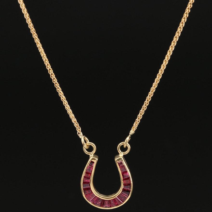 18K Ruby Horseshoe Necklace