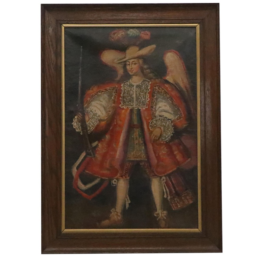Cusco School Style Oil Painting of Archangel, 19th Century