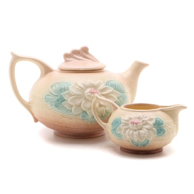 "Hull Pottery ""Water Lily"" Walnut Apricot Teapot and Creamer, 1948–1949"