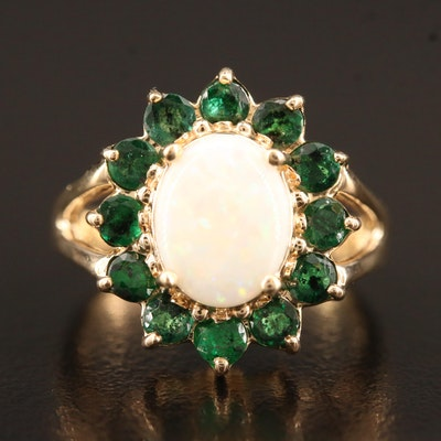14K Opal and Emerald Split Shoulder Ring