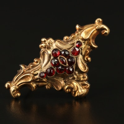 Victorian 14K Garnet Brooch