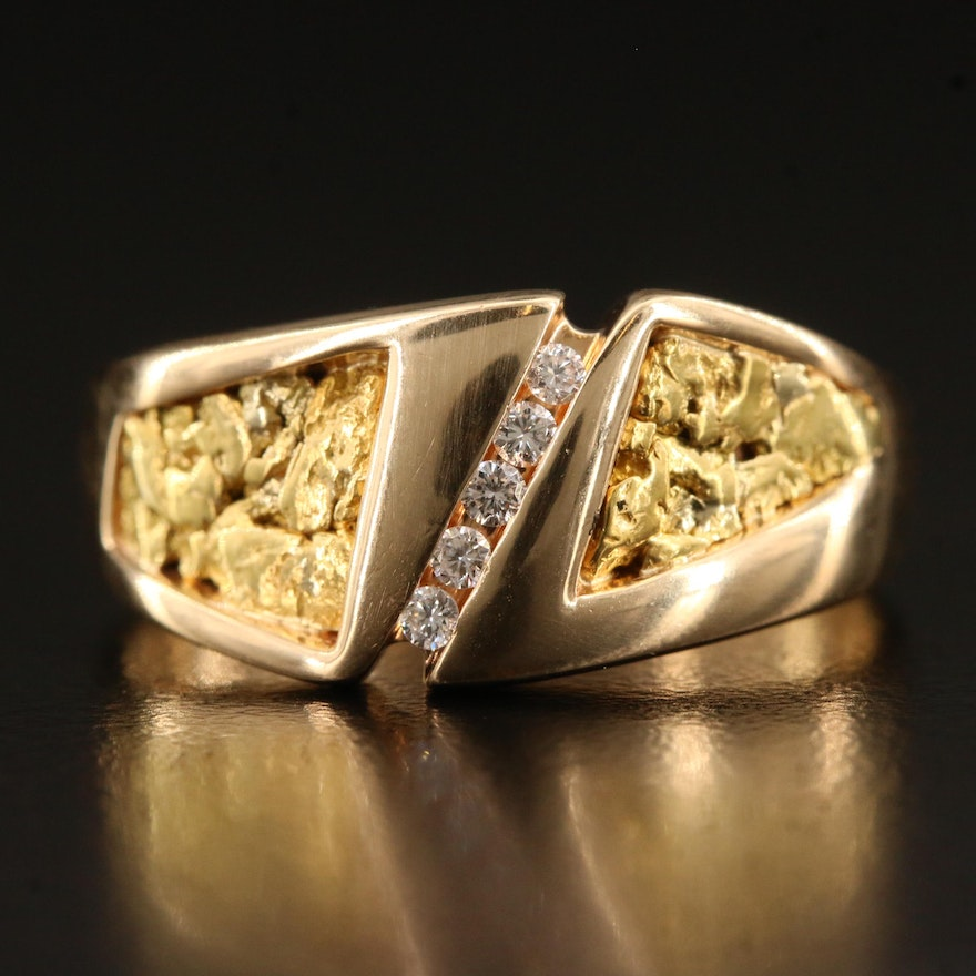 14K Diamond Ring with 18K Nugget Accents