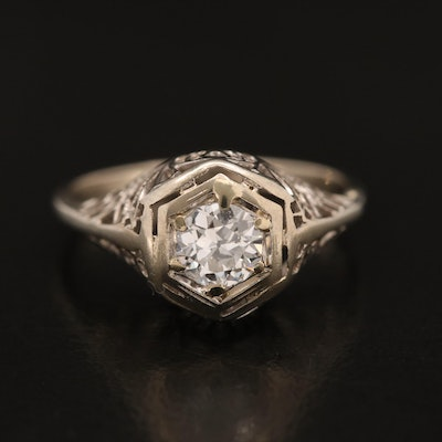 Vintage 14K 0.35 CT Diamond Solitaire Ring