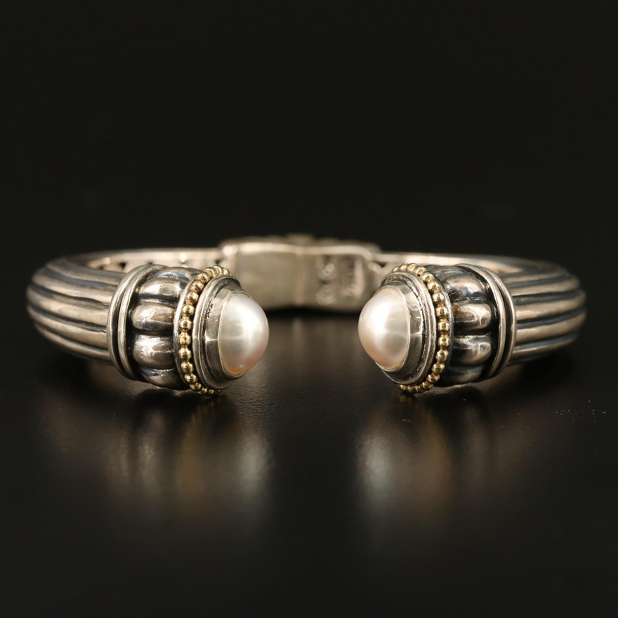Caviar Sterling Pearl Fluted Hinged Cuff with 18K Accents