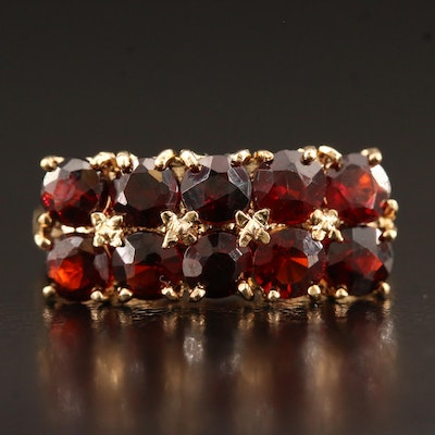 14K Double Row Garnet Ring