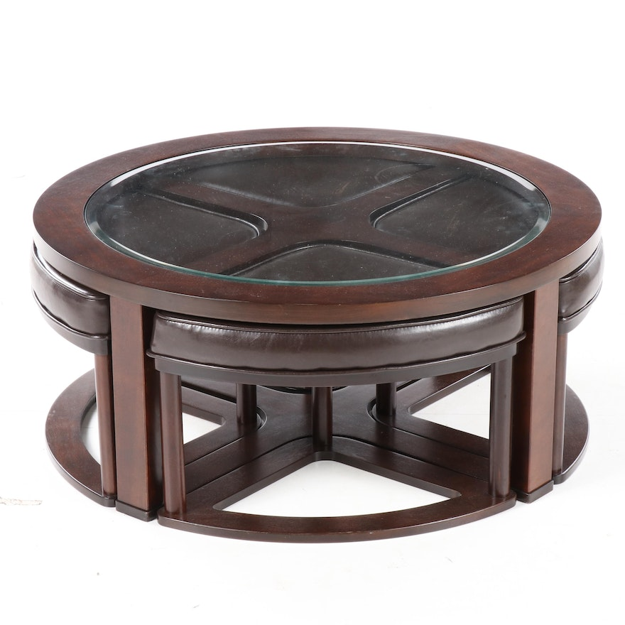 """Ashley Furniture """"Marion"""" Glass Top Coffee Table with Nesting Stools"""