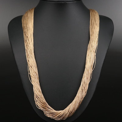 Sterling Silver One-Hundred Strand Liquid Silver Necklace