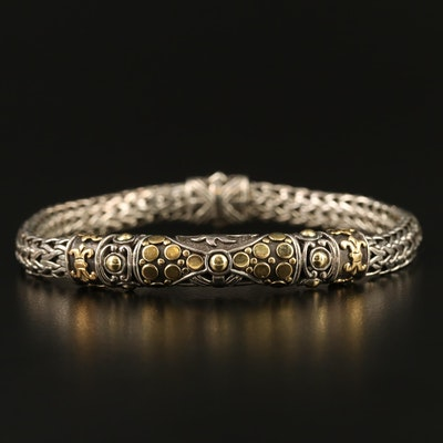 "John Hardy ""Dot"" Sterling Silver Bracelet with 18K Accents"