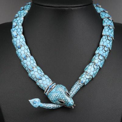 "Margot de Taxco ""Serpent"" Sterling Silver Champlevé Enamel Necklace"