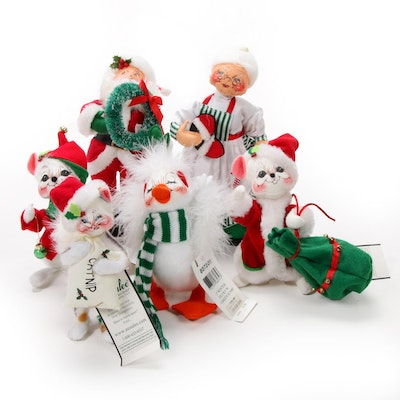 "Annalee ""Ornament Mouse"" and Other Felt Christmas Dolls, Contemporary"