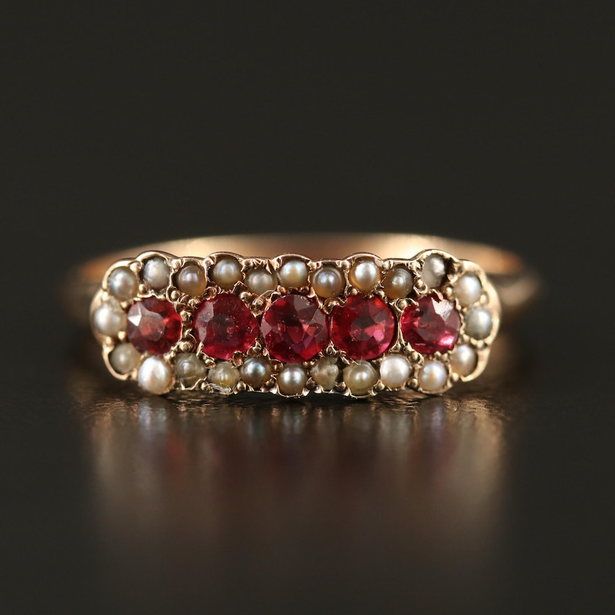 Antique 10K Garnet Glass Doublet and Seed Pearl Ring