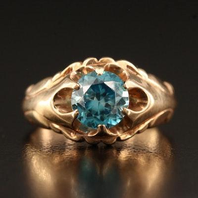 14K Zircon Belcher Ring