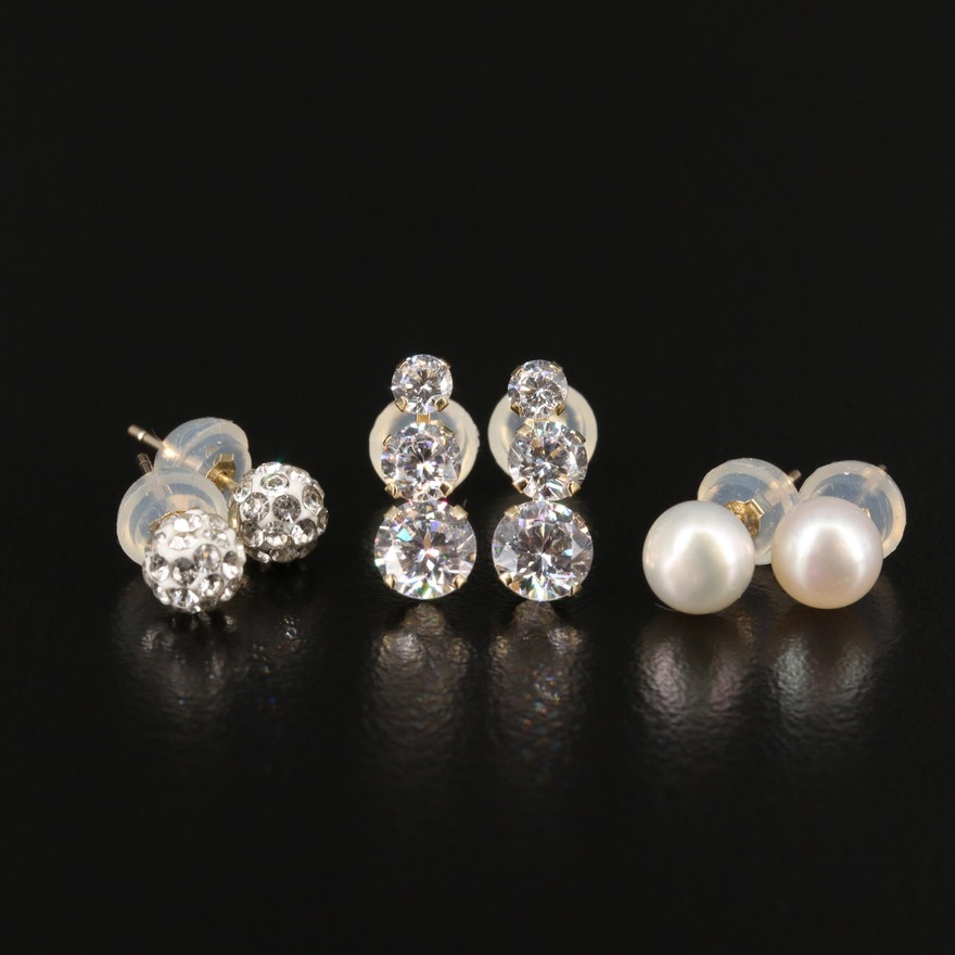 14K Stud Earrings with Rhinestones, Cubic Zirconia and Pearl