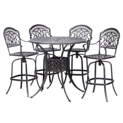 Contemporary Iron Bar Height Patio Dining Set