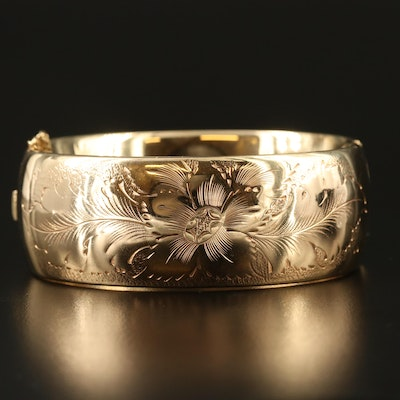 Vintage Engraved Gold Filled Hinged Bangle