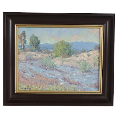 "Gary Ray Landscape Oil Painting ""Rushing Rain"""