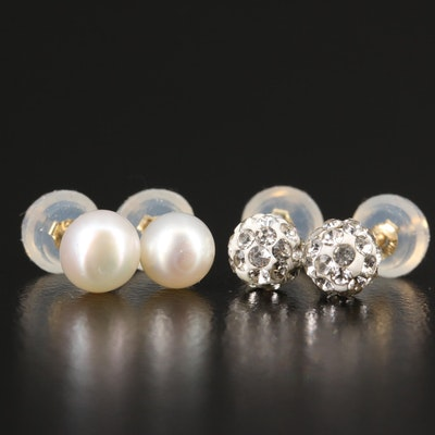 14K Pearl and Rhinestone Stud Earrings